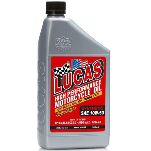 10716 LUCAS HIGH PERFORMANCE MOTORCYCLE OILS SYNTH 10W-50 (6 Qt Case)